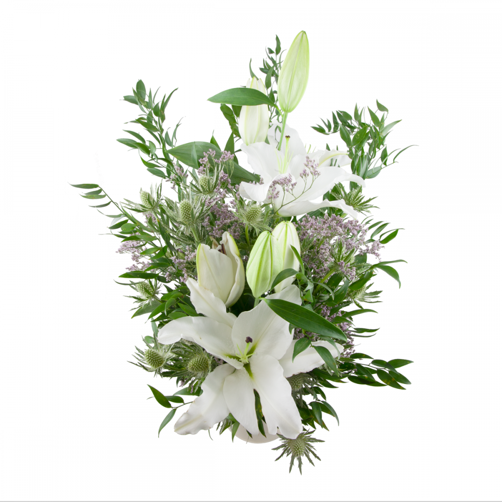 funeral white lily bouquet rozvoz kv tin do 90ti minut. Black Bedroom Furniture Sets. Home Design Ideas