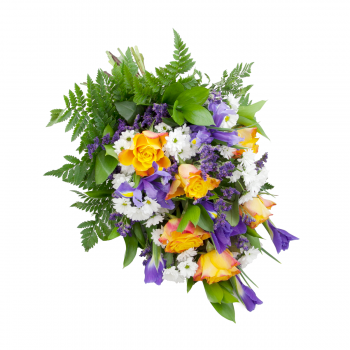 Funeral rose and iris bouquet