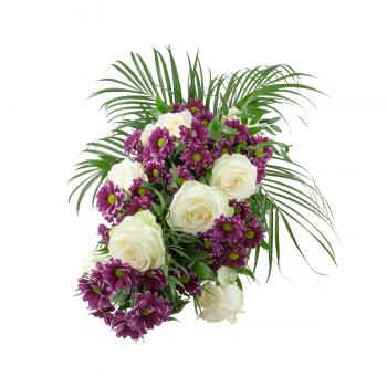 Smuteční kytice Chryzanthéma a Bílé Růže