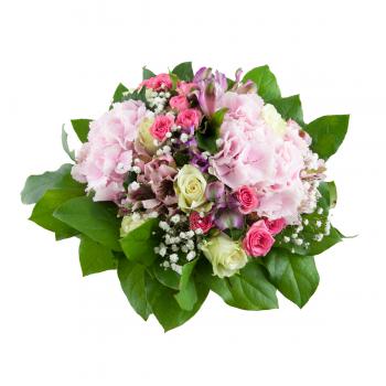 Kytice Hortenzie a trsová růže