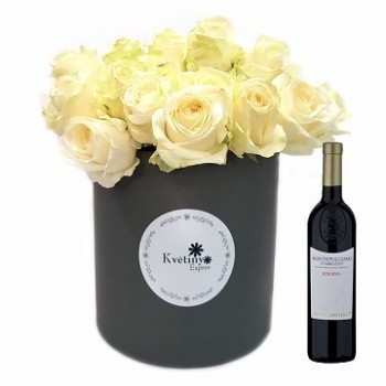 Flower box with wine