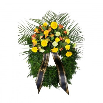 Funeral wreath germini and rose
