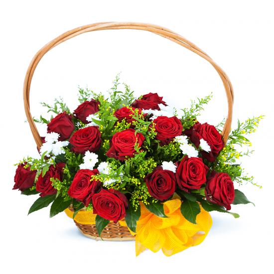 Wicker basket full of roses