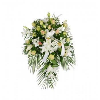 The funeral flower can be used lying, or be displayed on a stand