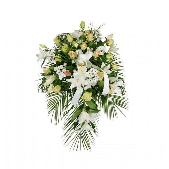 Smuteční květina na položení nebo na pověšení do stojanu