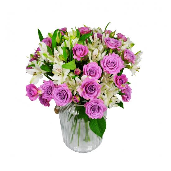 Trsové růže s Alstroemerií