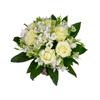 Bílé růže s Eustomou