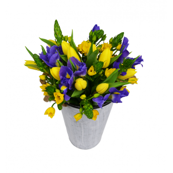 Žluto modrá kytice