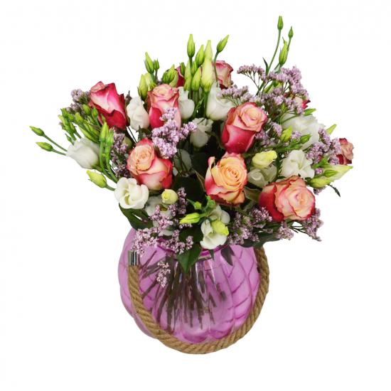 Růže Malibu s Eustomou