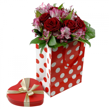 Semišová růže v dárkovém balení