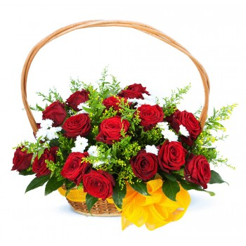 Wicker basket full of roses
