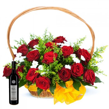 Gift basket roses with wine