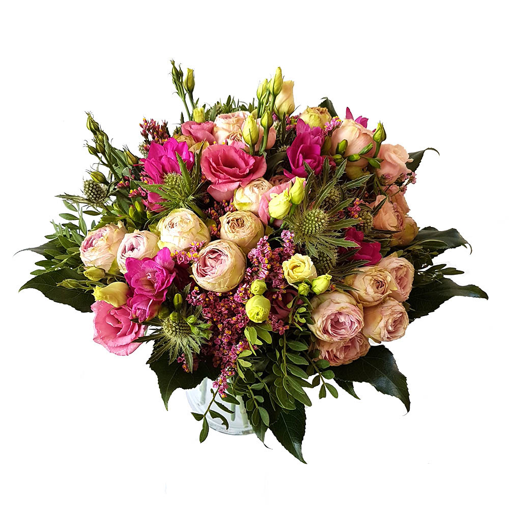 A bouquet made of perennial roses with eustoma, erythmia ...