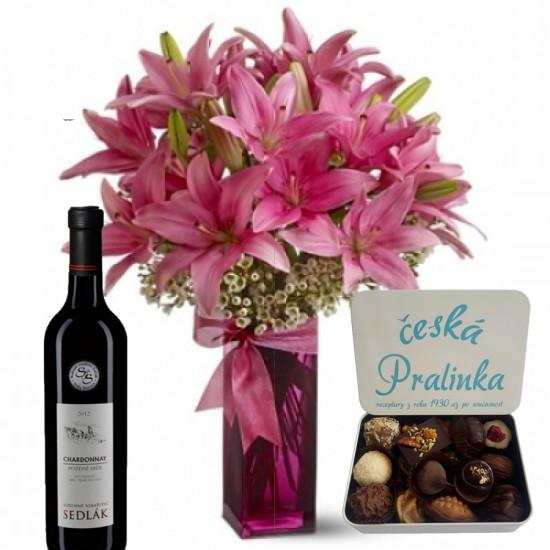 Lilie - víno - pralinky