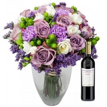 Romantic hug with wine