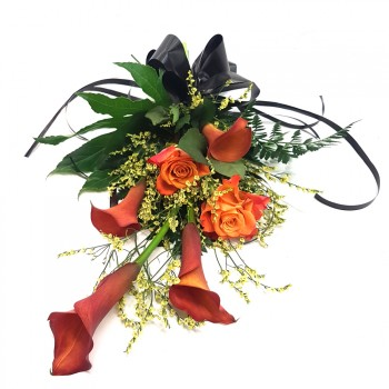 Funeral calla lily and rose flower