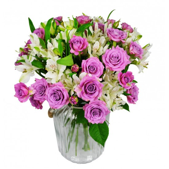 Trsové růže s Alstromerií