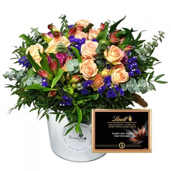 Flower box mix with Lindt chocolate